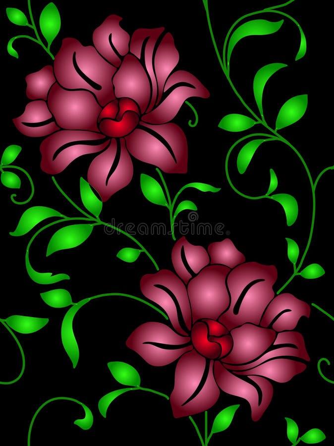 Papier peint sans joint une couture avec la fleur et les lames illustration libre de droits