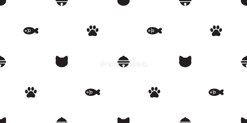Papier peint saumoné de répétition de fond de tuile de chaton de modèle de cloche de vecteur de chat de patte de pied de poissons illustration stock