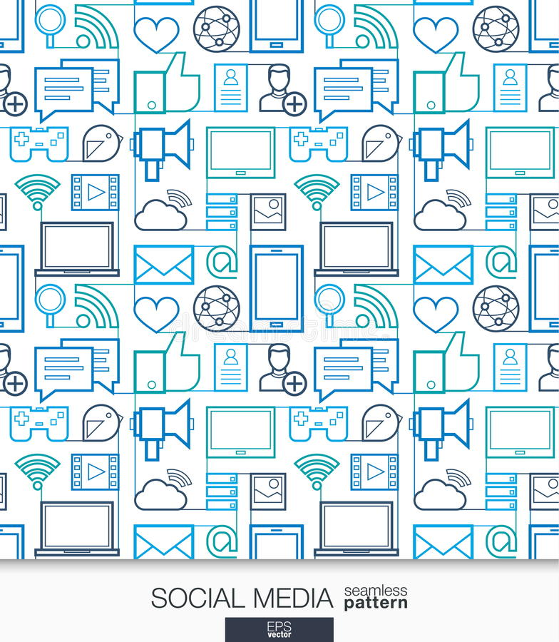 Papier peint social de media Modèle sans couture de communication de réseau illustration stock