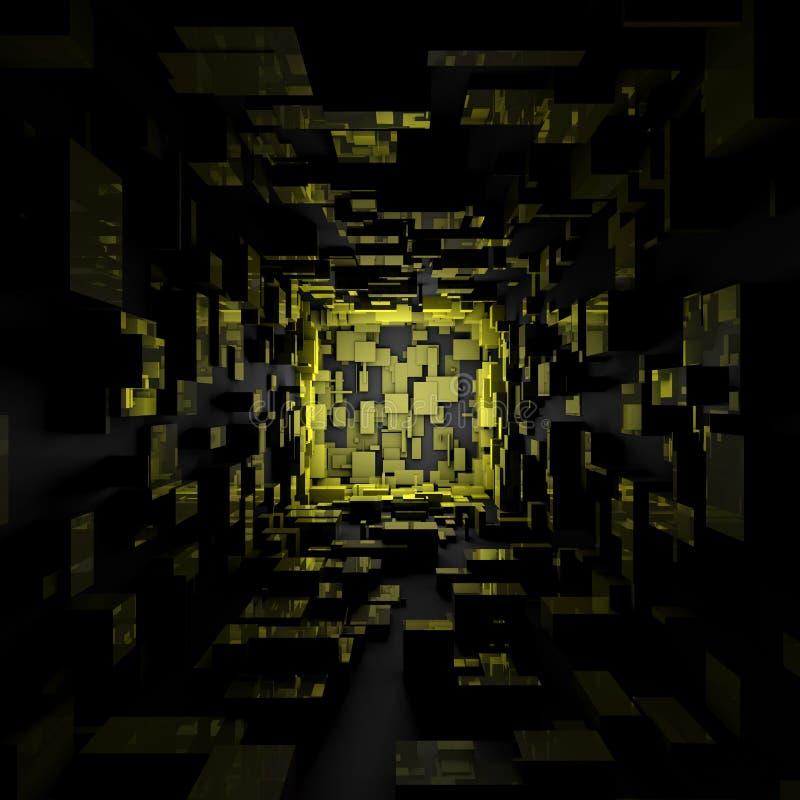 Papier peint sombre futuriste abstrait de fond de pièce de lumière jaune de Sci fi illustration de vecteur
