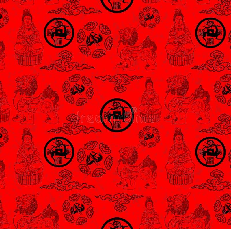 Papier peint traditionnel chinois de série de religion image stock