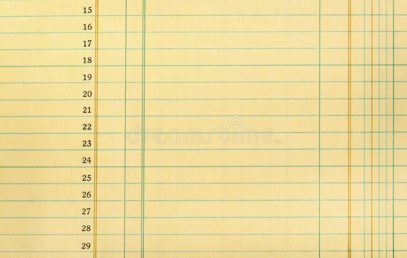 Papier pour livres de comptabilité de cru photographie stock