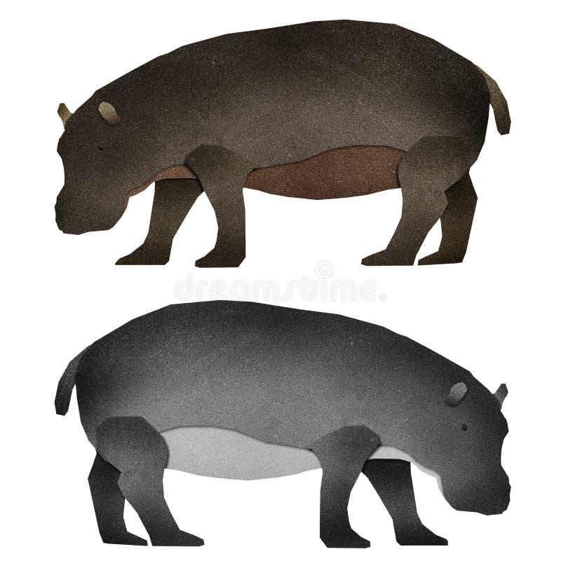 Papier réutilisé par Hippopotamus de Papercut illustration de vecteur