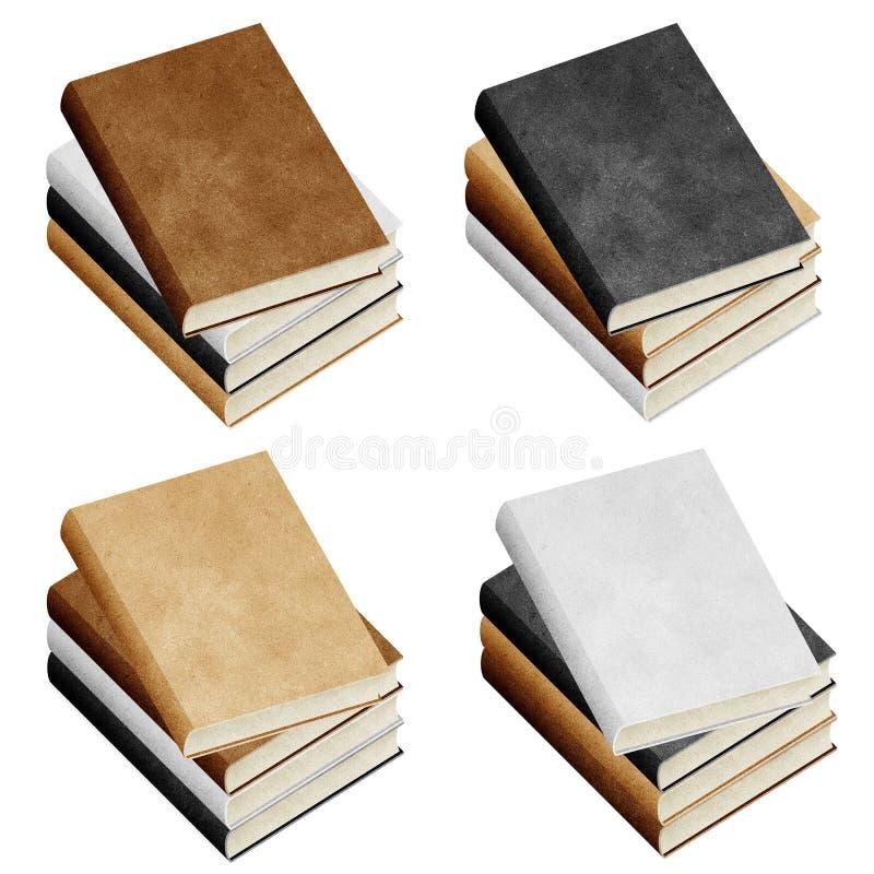 Papier réutilisé par livre blanc d'isolement photographie stock