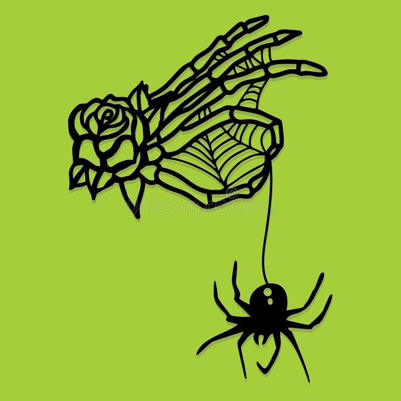 Papier Rżniętej sylwetki ręki pająka Zredukowana sieć ilustracji