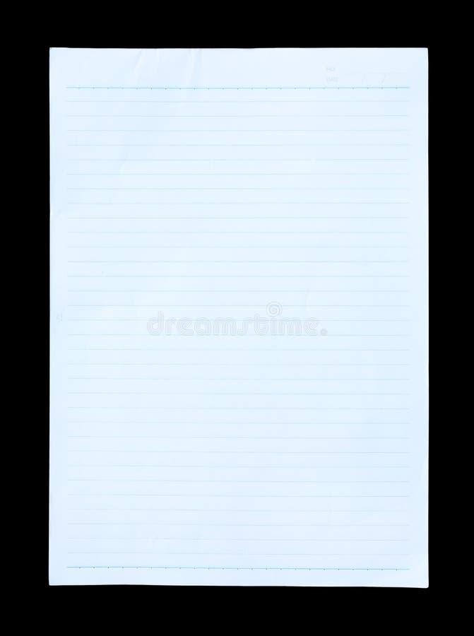 Papier rayé bleu sur le fond noir photo stock