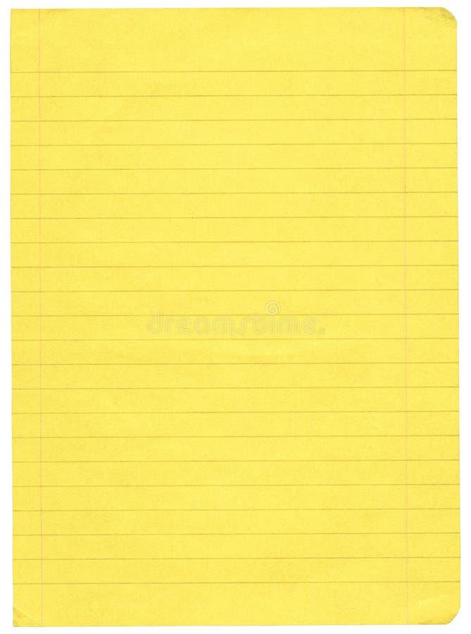 Papier rayé par jaune image libre de droits