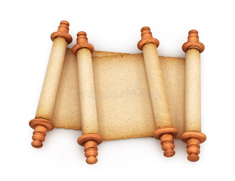 Papier Rolls de vieux rouleaux d'isolement sur le fond blanc 3d image libre de droits