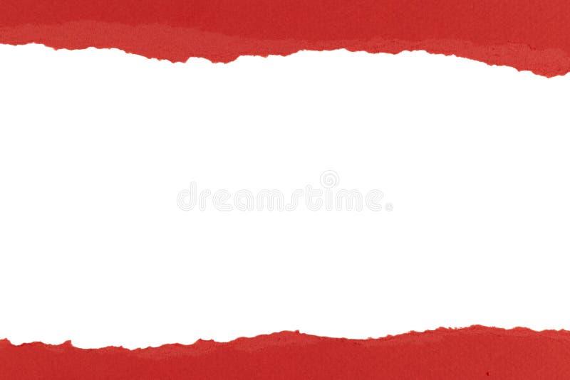 Papier rozdarty o nawiniętej krawędzi z pustą przestrzenią Rozdzierany papier z białą kopią Puste miejsce na wiadomość Dwa rozdar fotografia royalty free
