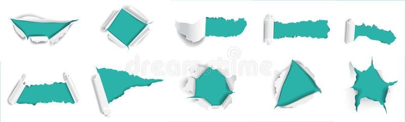 papier rozdzierający set ilustracji