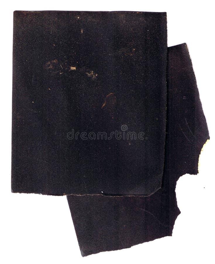Papier sablé utilisé brut de papier à l'émeri avec les bords en lambeaux sur le fond blanc photo libre de droits