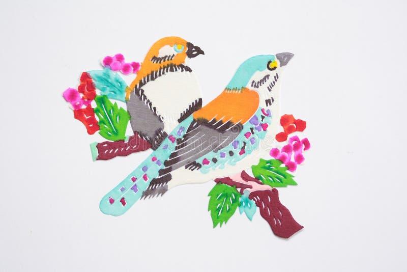 Papier-schneiden Sie von den Vögeln stock abbildung