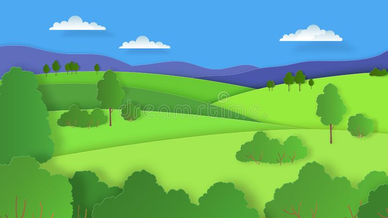 Papier-Schnitt-Landschaft Naturkarikaturszene mit Wolken und -walddes blauen Himmels der grünen Hügel Gebirgsvektorpapierkunst stock abbildung