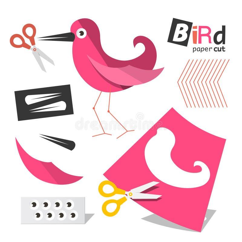 Papier schnitt rosa Vogel-Teile mit den lokalisierten Scheren lizenzfreie abbildung