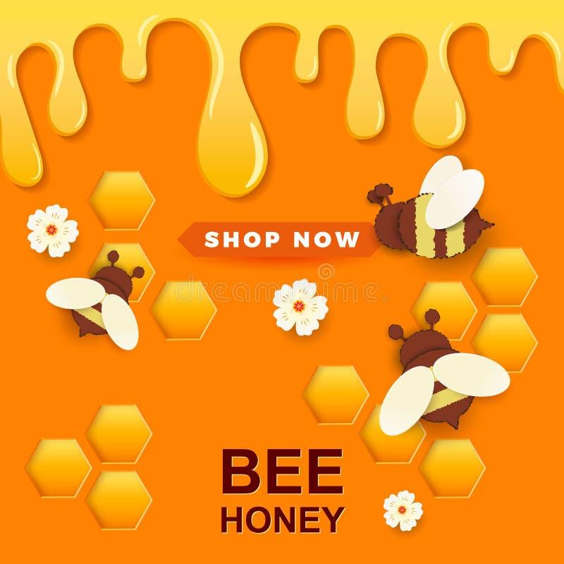 Papier schnitt wie eine Biene mit Bienenwaben Entwurfsschablone für Imkerei und Honigwerbung Orange Hintergrund Platz f?r Ihren T lizenzfreie abbildung