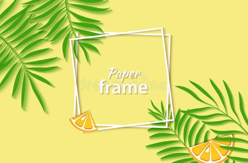 Papier schnitt zwei weiße quadratische Rahmen mit grünen tropischen Palmblättern und schneidet orange Zitrusfrucht Prelambulator  lizenzfreie abbildung