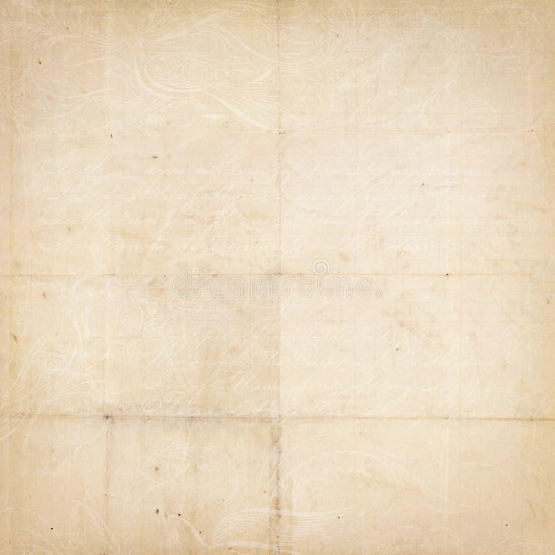 Papier texturisé plié par cru antique avec la séquence type photos libres de droits