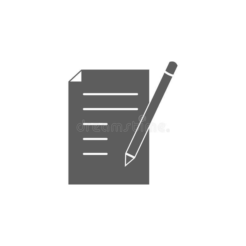 Papier- und Bleistiftikone Element der Bildungsikone Erstklassige Qualitätsgrafikdesignikone Zeichen, Entwurfssymbol-Sammlungsiko lizenzfreie abbildung