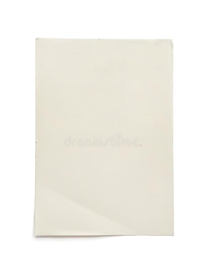 Papier A4 vide rugueux d'isolement sur le fond blanc avec le chemin de coupure Fond de papier de texture images stock