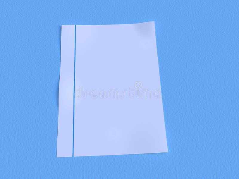 Papier vide sur la terre bleue illustration de vecteur