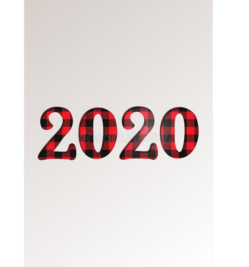 Papier wycinany na zimowe wakacje z kartami powitalnymi - Szczęśliwego Nowego Roku 2020 na tartan checkered plaid - ilustracja we royalty ilustracja