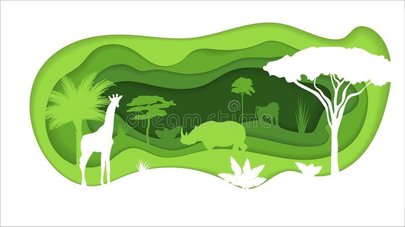 Papier Wykonujący ręcznie wycinanka świat Pojęcie tropikalna tropikalny las deszczowy dżungla również zwrócić corel ilustracji we ilustracja wektor