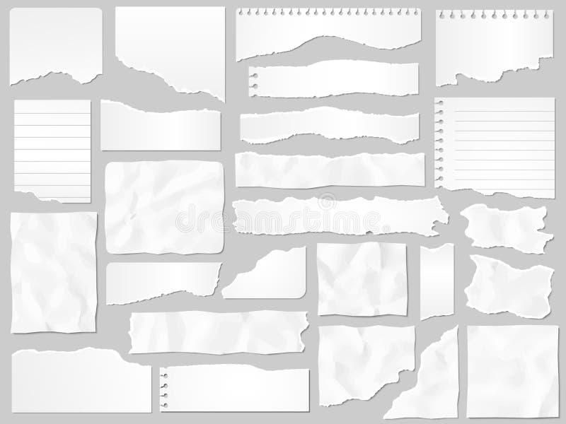 Papierafval Gescheurde documenten, gescheurde paginastukken en het document van de plakboeknota reeks van de stuk de vectorillust vector illustratie
