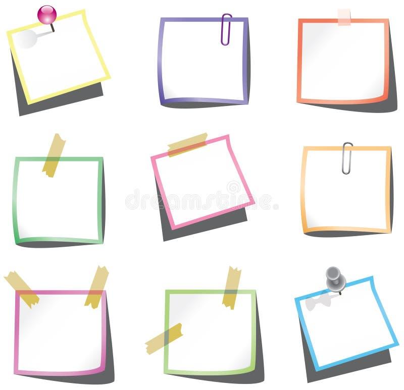 Papieranmerkungen mit Stoßstift und -papierklammer stock abbildung