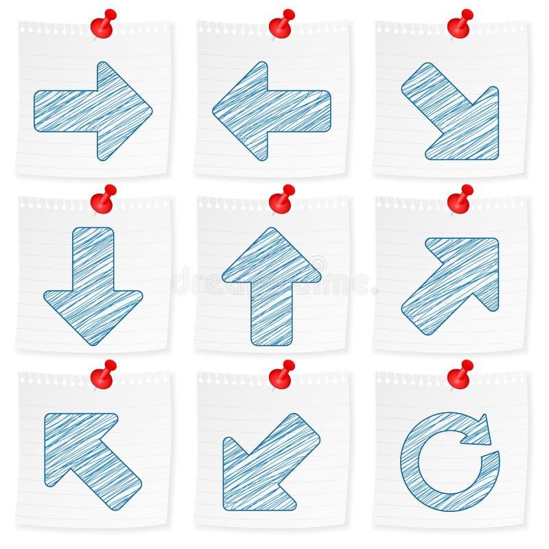 Papieranmerkungs- und Zeichnungspfeil stock abbildung