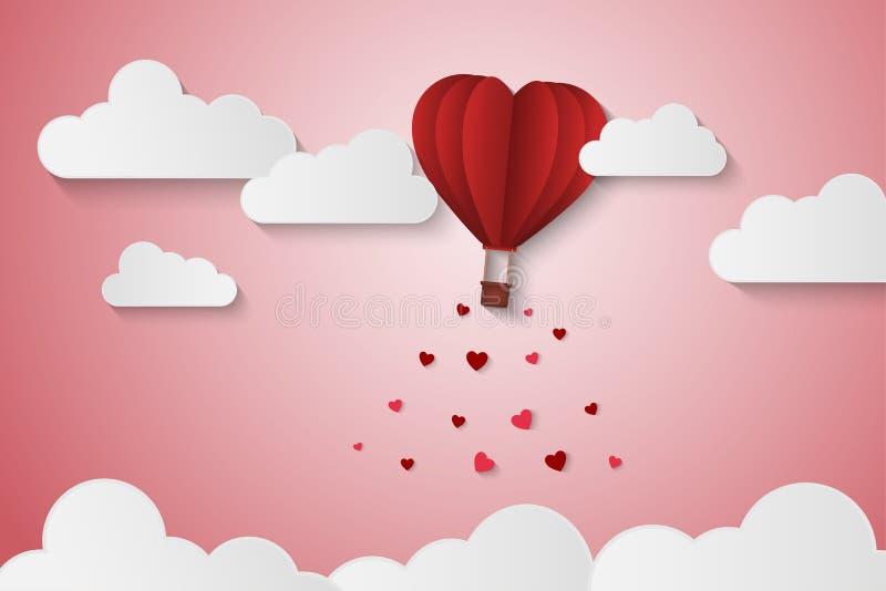 Papierartliebe des Valentinstags, Ballon, der über Wolke mit Herzfloss auf dem Himmel, Paarflitterwochen, Vektorillustration flie lizenzfreie abbildung