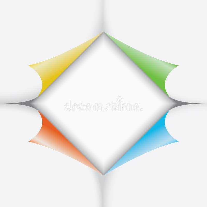 Papieraufkleber mit verbogenen Ecken lizenzfreie abbildung