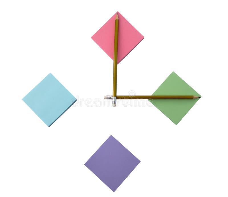 Papieraufkleber und Bleistifte stockbilder