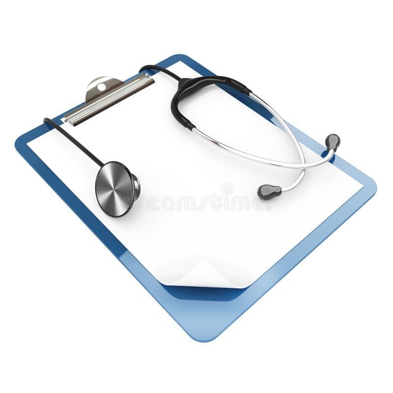 Papierauflagehalterung und -stethoskop lizenzfreie abbildung