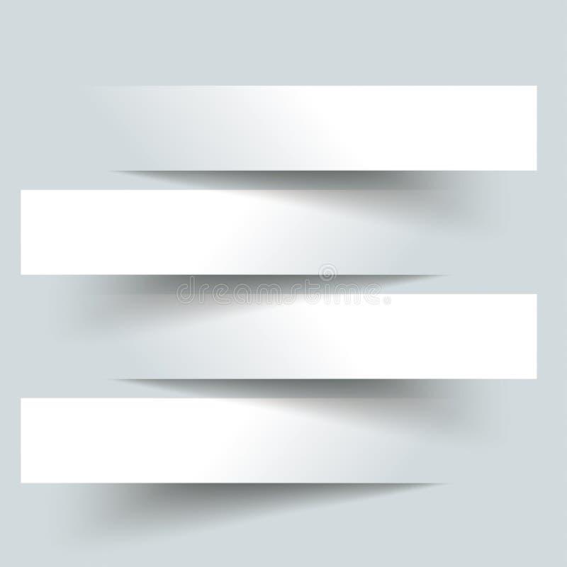 4 Papierausschnitt-Fahnen lizenzfreie abbildung