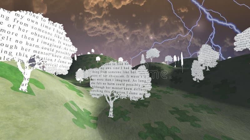 Papierbäume mit Text in der mystischen Landschaft stock abbildung