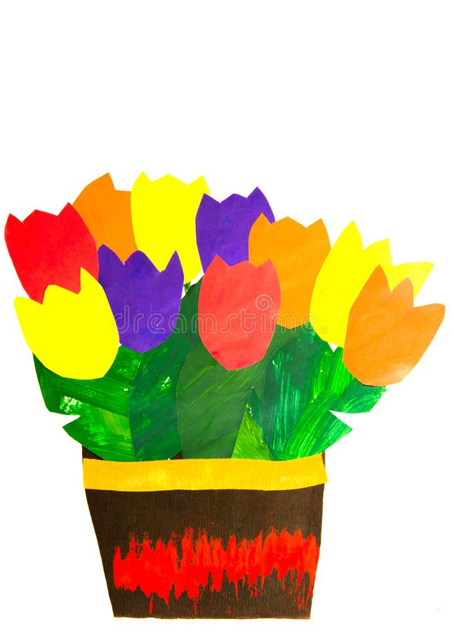 Papierbündel bunte Tulpen im Vase lizenzfreies stockfoto