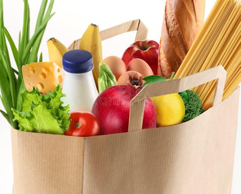 Papierbeutel mit Nahrung stockbilder