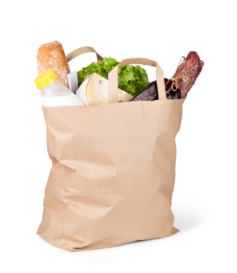 Papierbeutel mit Nahrung lizenzfreie stockbilder