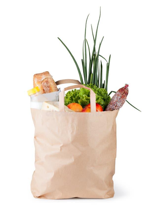 Papierbeutel mit Nahrung lizenzfreies stockbild