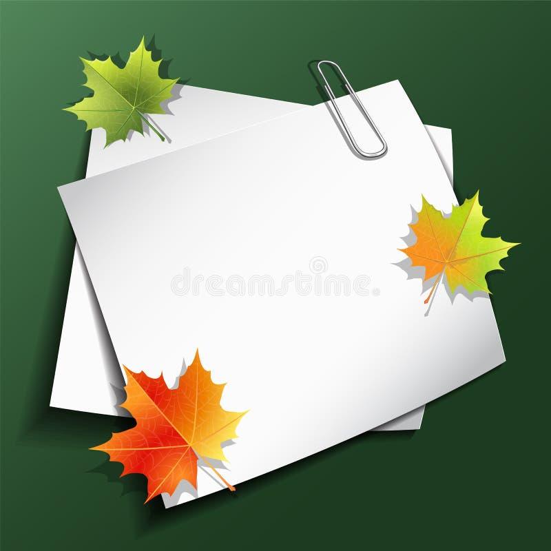 Papierblätter und Ahornherbstlaub stock abbildung