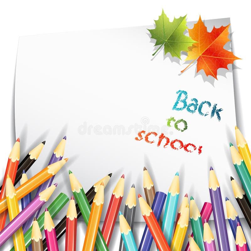 Papierblatt, bunte Bleistifte und Ahornherbstlaub auf weißem Hintergrund vektor abbildung