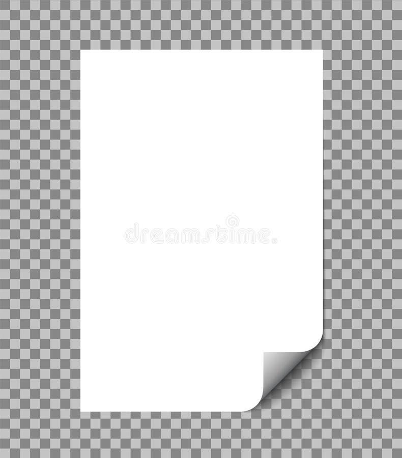 Papierblatt eingewickelte Vektorillustration mit Schatten Papierseite des freien Raumes A4 mit der Locke lokalisiert auf Weiß Vek vektor abbildung