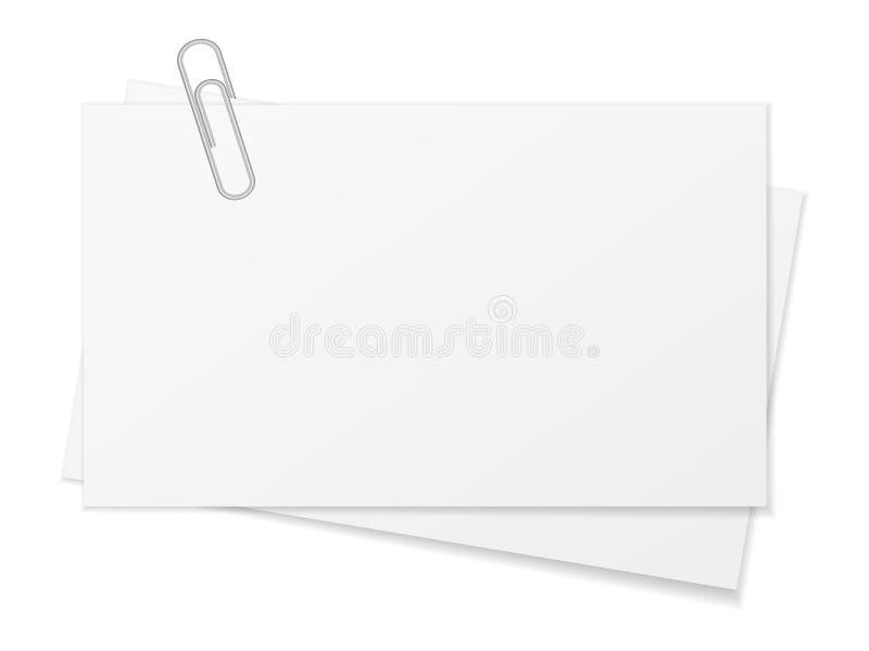 Papierblatt und Büroklammer vektor abbildung