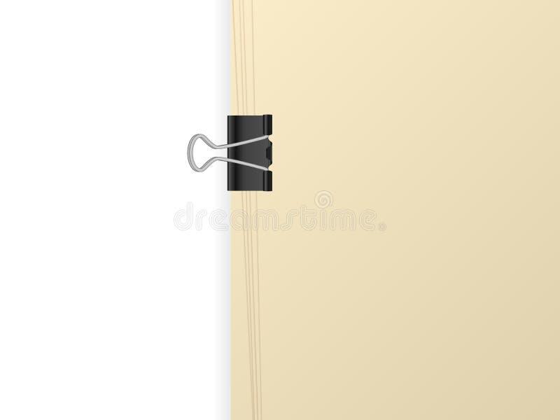 Papierblatt und Mappenclip lizenzfreie abbildung