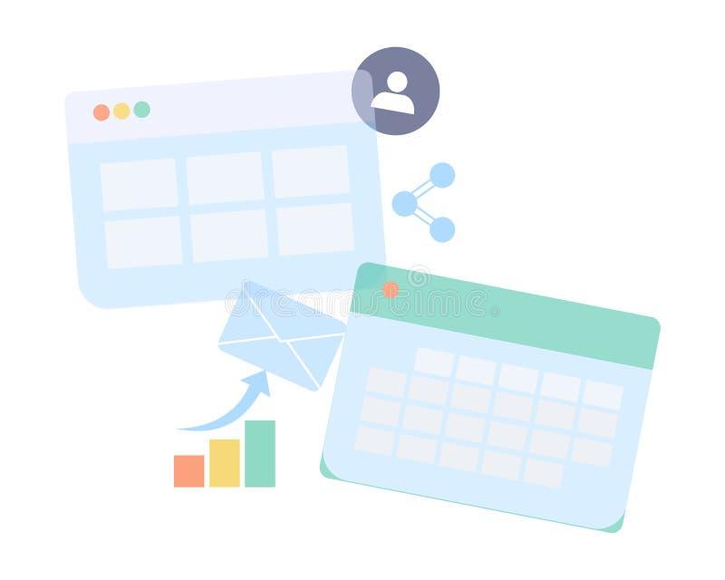 Papierblatt, Vergrößerungsglas, Schreibarbeit, Berater, Unternehmensberaterfinanzprüfung, Steuerprozeß revidierend, große Datenan vektor abbildung