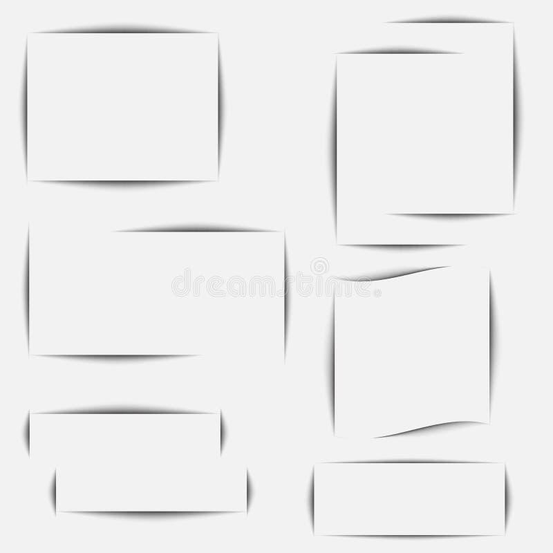 Papierblattschatteneffekt Transparente realistische Schatten des Vektors stellten f?r die Werbung von Fahnenschablonen ein Vektor stock abbildung