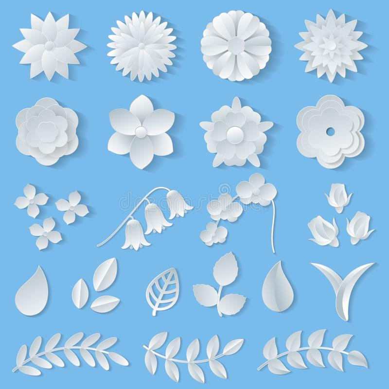 Papierblumen vector Blumenhochzeitsdekoration oder geblühten Grußkartendekor für blühende Einladung oder Tapete stock abbildung
