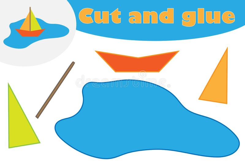 Papierboot in der Pfützenkarikatur, Ausbildungsspiel für die Entwicklung von Vorschulkindern, Gebrauchsscheren und Kleber, zu sch vektor abbildung