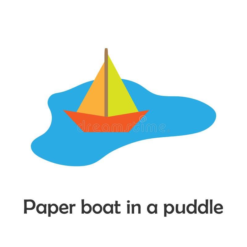 Papierboot in einer Pfütze in der Karikaturart, Frühlingskarte für Kind, Vorschultätigkeit für Kinder, Vektorillustration stock abbildung