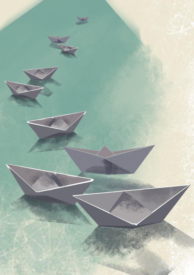 Papierboote auf Wasseroberfläche vektor abbildung